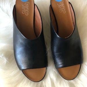 Franco Sarto black leather slide mules